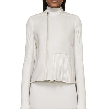 Rick Owens Pearl Grey Wool Frilled And Caped Biker Jacket
