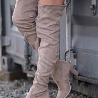 Nothing But Taupe Thigh High Heeled Boot (Taupe)