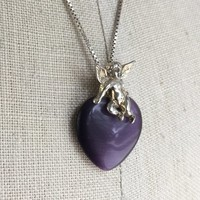 Vintage Sterling Silver Amethyst Heart Angel Necklace, Silver Cherub Pendant, Gift for Tween or Teenager, February Birthstone