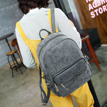 Back To School Stylish Matte Casual Travel Vintage Backpack [6581209543]