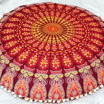 Indian large floor cushion cover mandala pillow floor pillow cover maroon pillow mandala cushion  floor pillow seating floor pillow kids