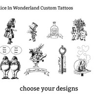 alice in wonderland customisable temporary tattoos - party favors tattoo booth photo booth