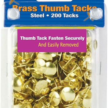bazic brass (gold) thumb tack (200/pack) Case of 24