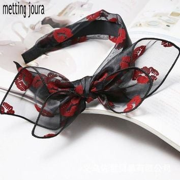 PEAPGC3 Metting Joura Bohemian Vintage Punk Red Lip Print Lace Big Double Bow Wide Headband Hairband Hair Accessories