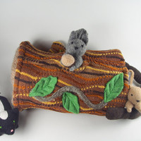 animal play toy bag, waldorf toy bag, toy storage, woodland toy bag, Easter basket, felted child's toy, tree branch bag, eco friendly toy