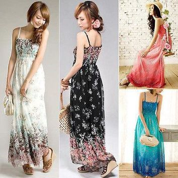 New Women Ladies Chiffon Boho Beach Maxi Dress Sleeveless Pleated Long Sundress