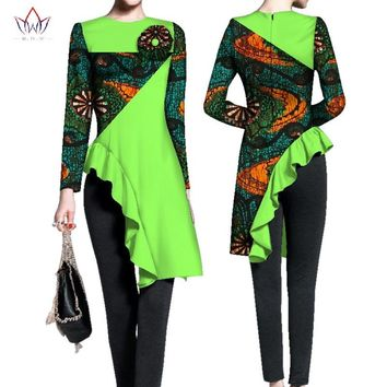 Spring african tops for women full sleeve top o-neck womens african plus size