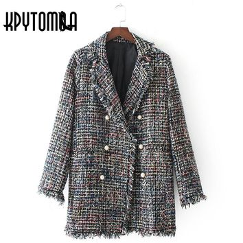 Vintage Chic Checked Tweed Jacket Women 2017 New Fashion Faux Pearl Double Breasted Lapel Long Sleeve Elegant Female Coat