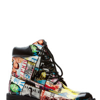 Colored Magazine Collage Patent Combat Boots
