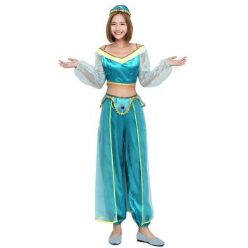 Hot Women Girls Aladdin Jasmine Costume Genie Princess Cosplay Fantasy Outfit Belly Dance Costume