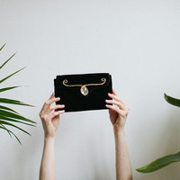 Black & Gold Velvet Clutch Purse