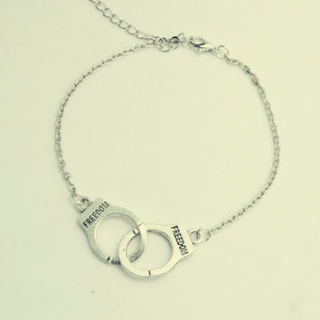Silver Tone Handcuffs Friendship Bracelet