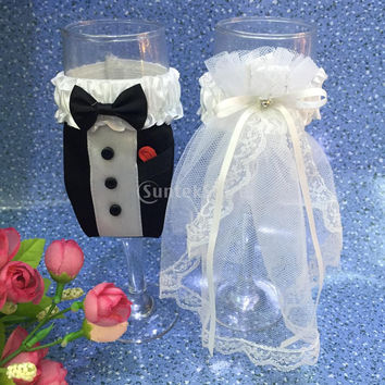 Bride Groom Dress Wedding Wine Glass Champagne Cup Cover