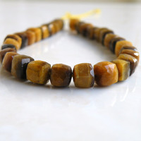 Tiger Eye Gemstone Cube Faceted Drilled Beads 7mm 26 beads Full strand
