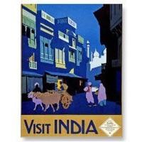 Visit India Vintage Travel Art Post Card
