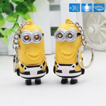New arrive Cute Cartoon Movie 3d Led keychain talk Minions,Gru Lucy Dru striation minions Flashlight keyring 22#