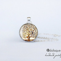 The Tree of Life Glass Pendant Silver Gustav Klimt Art Painting Round Circle Necklace Jewelry Birthday Gift 1 inch Symbolist Movement