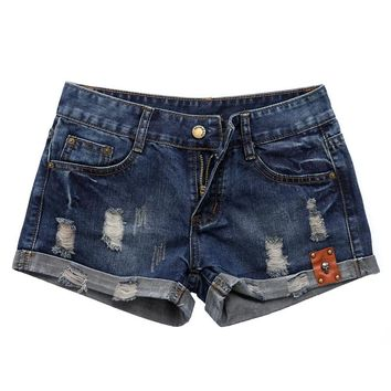 2017 Denim Shorts Women Summer Vintage Distressed Womens Jean Shorts Skull Ornament casual female waist Jeans Shorts