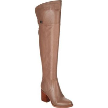 Franco Sarto Dover Taupe Ollie Wide Calf Leather Over-the-Knee Boots