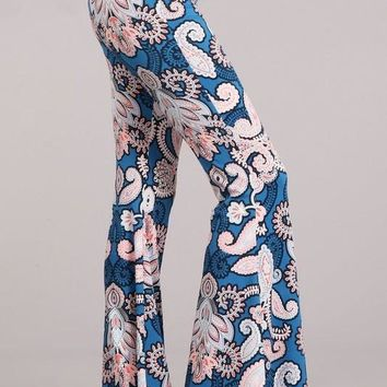 Blue Boho Bell Bottoms
