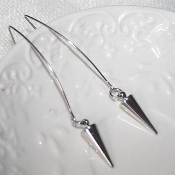 Silver Spike Minimalist Earrings, Spike in large hoop Ear Wires, Modern Simple Silver Fashion Jewelry
