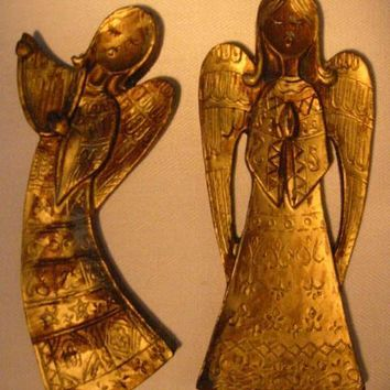 Italian Angels Antiqued Gold Wall Decor Hand Carved