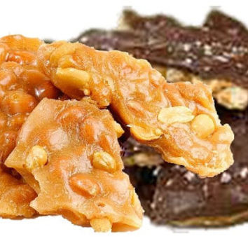 Homemade Peanut Brittle 1/2 lb w/SeaSalt and milk Chocolate and 1/2 lb regular brittle, FREE SHIPPING Gourmet Peanut Brittle, holiday gift.