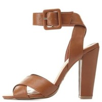 Bamboo Crisscross Ankle Strap Chunky Heels