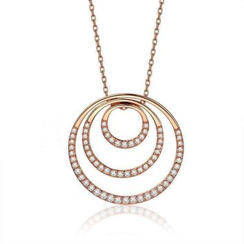 Roxi Woman Statement Necklaces Pendants Rose Gold Circles Pendant Long Necklace For Women Jewellry Gift Collares Mujer