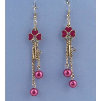 Clover key drop earrings