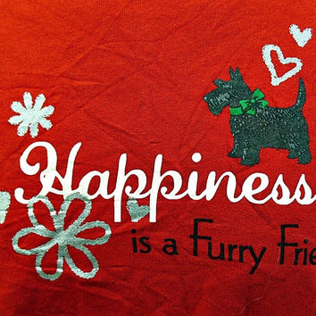 Vintage Red Christmas Happiness Is A Furry Friend Jumper Sweater 3XL