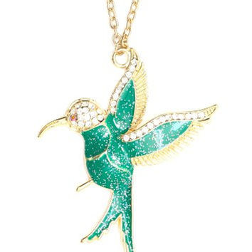 Hummingbird Necklace Tropical Bird Green Glitter Gold Tone NM12 Pendant Fashion Jewelry