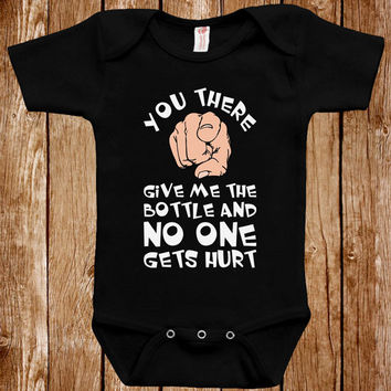 Funny Baby Infant Bodysuit Clothes One Piece Romper Joke Boy Girl Give Me The Bottle And No One Gets Hurt Fun Geek Adorable Cute Shower Gift