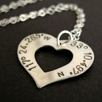 Latitude and Longitude Heart Necklace in sterling silver-custom stamped