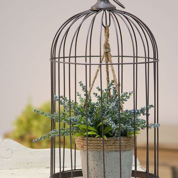 Large Wire Bird Cage w/Cement Plant Holder
