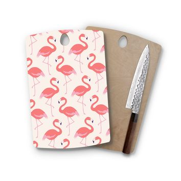 Pink Flamingo Rectangle Cutting Board Trendy Unique Home Decor Cheese Board