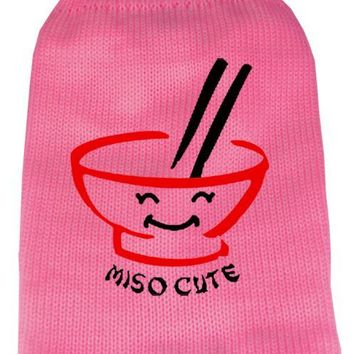 Miso Cute Screen Print Knit Pet Sweater Xs Pink