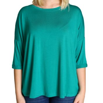 Green Piko Loose Sleeve Top