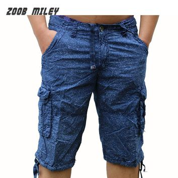 Military Cargo Shorts Men Loose Fit Baggy Casual Camouflage Short Pants Summer Cotton Knee Length Jogging Fashion Beach Trousers