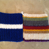 Doctor Who Scarf Tardis Inspired Pot Holders Trivets