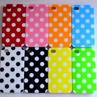8pcs Cute Colorful White Polka Dots Gel Silicone Case Cover Skin for iPhone 4 4S+Polka Dots Sticker