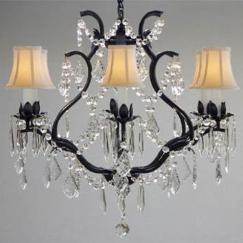 "Swarovski Crystal Trimmed Chandelier! Wrought Iron Crystal Chandelier Chandeliers Lighting H 19"" W 20"" - With White Shades! - A83-WHITESHADES/3530/6 SW"