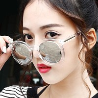 Luxury Brands Famous Vintage Oversized Round Sunglasses Cat Eye Retro Women Female Sun Glasses Women's Glasses Feminine Goggles