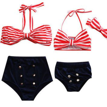 Mother Daughter Family Bikini Set Womens Kids Baby Girls Toddler Halter Striped Bow High Waist Swimwear Swimsuit Beachwear NEW
