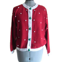 Adorable Red Ugly Christmas Sweater Cardigan Super 80s Christmas Trees