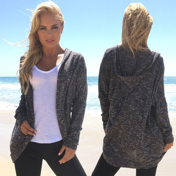 Last Call Knit Cardigan In Grey