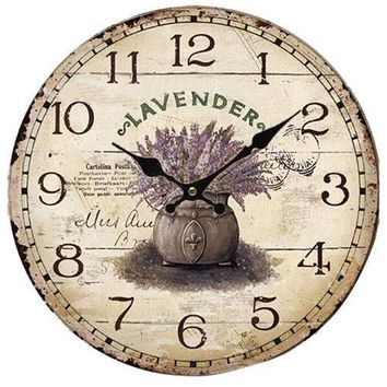 Vintage Antique Style Lavender Pot Wall Clock