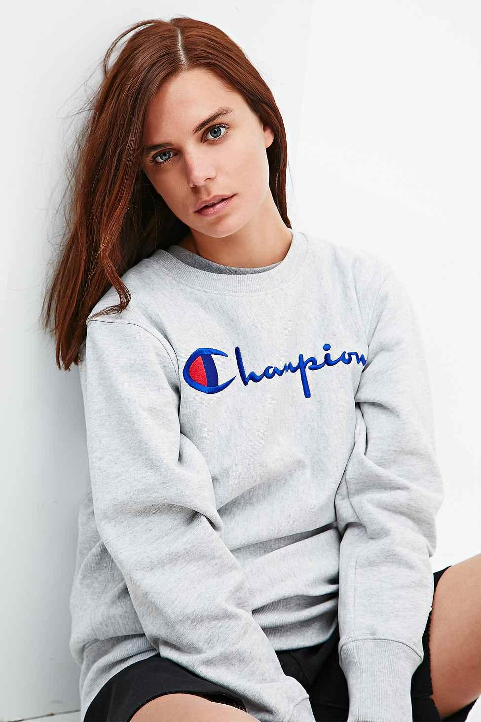 champion logo sweatshirt in grey urban from urban outfitters. Black Bedroom Furniture Sets. Home Design Ideas