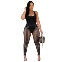 High Waist Lace Up Leggings Women Sexy Party Slim Black Front Hollow Out Skinny Leggings Fitness Workout Push Up Leggings Pants