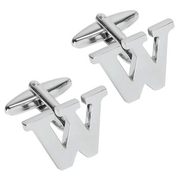 BodyJ4You Cufflink Set Letter W Initial Classic Style Silver Color Gift Box